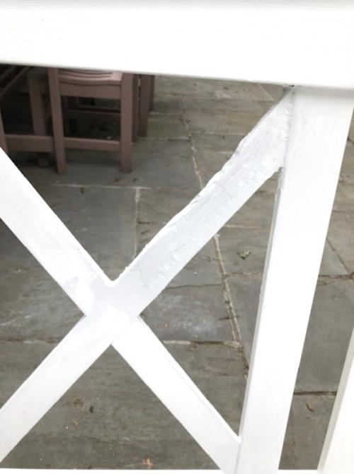 wood filler on outdoor furniture