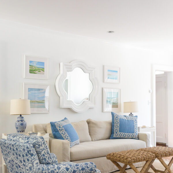 design darling living room quatrefoil mirror lee jofa sameera chairs