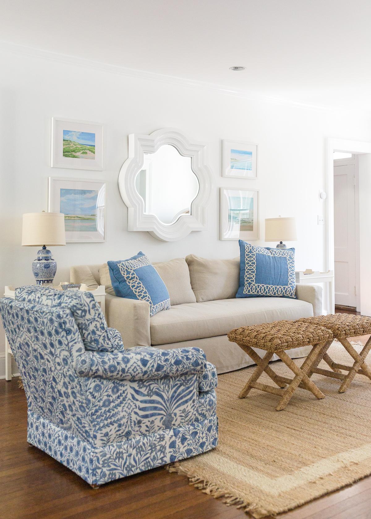 design darling living room quatrefoil mirror lee jofa sameera chairs