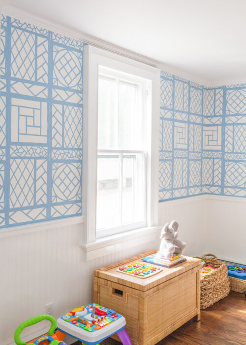 design darling playroom quadrille lyford trellis wallpaper french blue