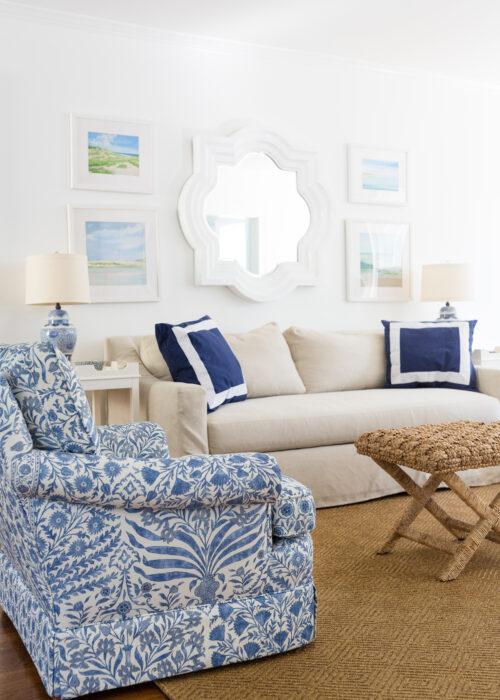 lee jofa sameera fabric indigo blue upholstered chair and dash & albert cress bark indoor:outdoor custom rug