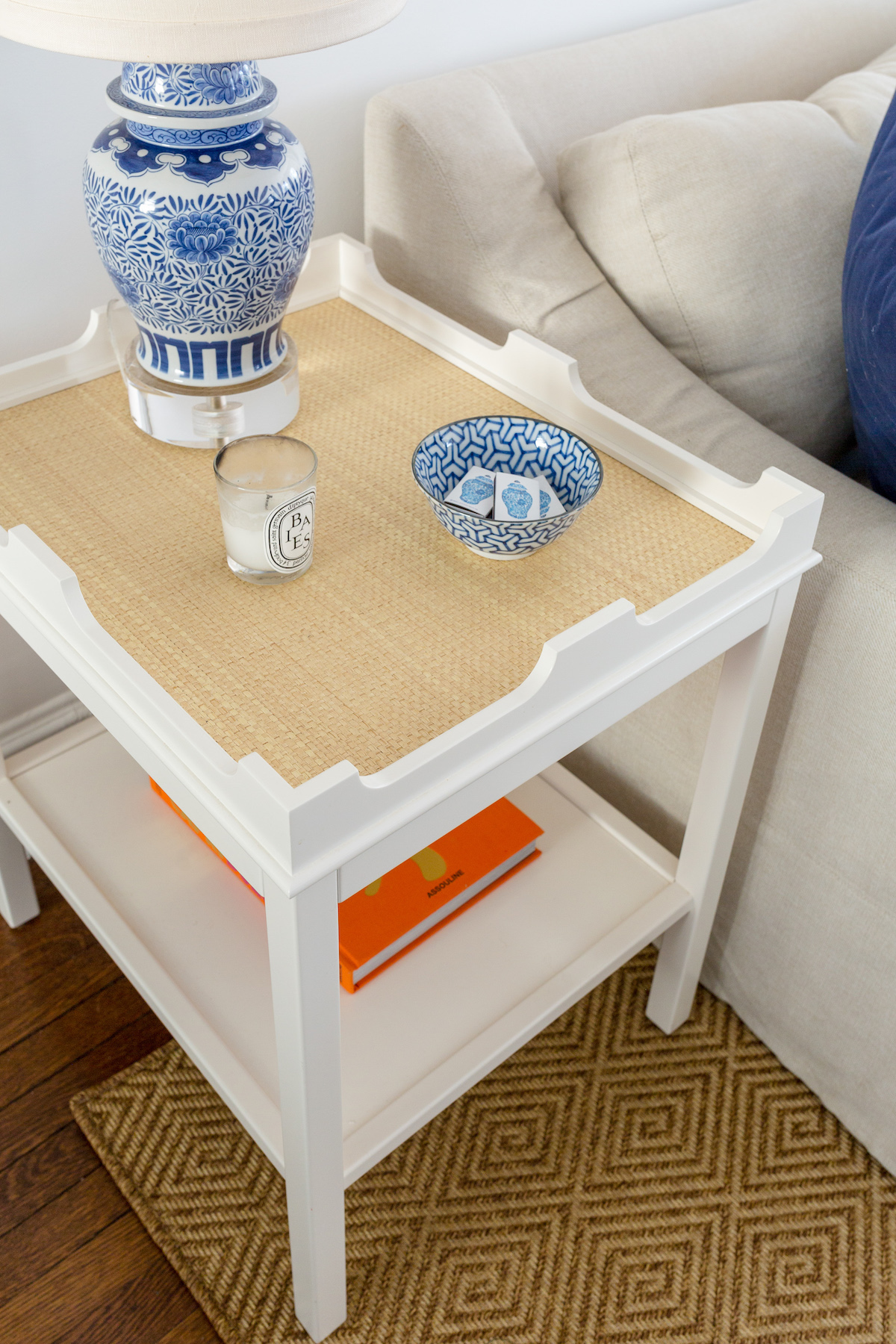 oomph edgartown table on dash & albert cress bark indoor:outdoor custom rug