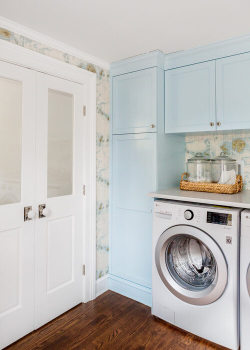 design darling laundry room cabinets in sherwin williams crystal stream