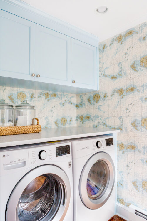 design darling laundry room with ralph lauren great har white map wallpaper