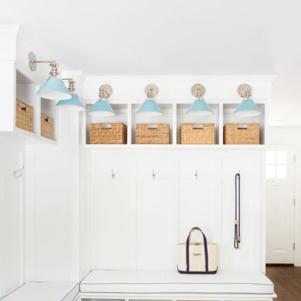 design darling mudroom built-ins with hudson valley lighting mark d. sikes painted no. 2 sconces in bluebird:polished nickel