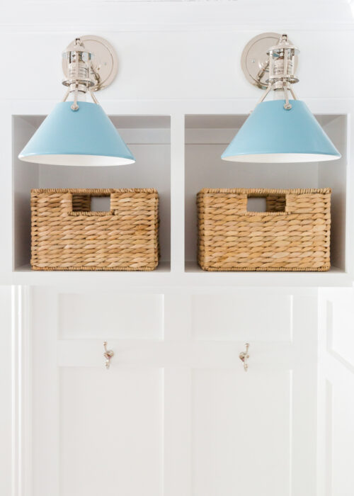 hudson valley lighting mark d. sikes painted no. 2 sconces in bluebird:polished nickel in design darling mudroom