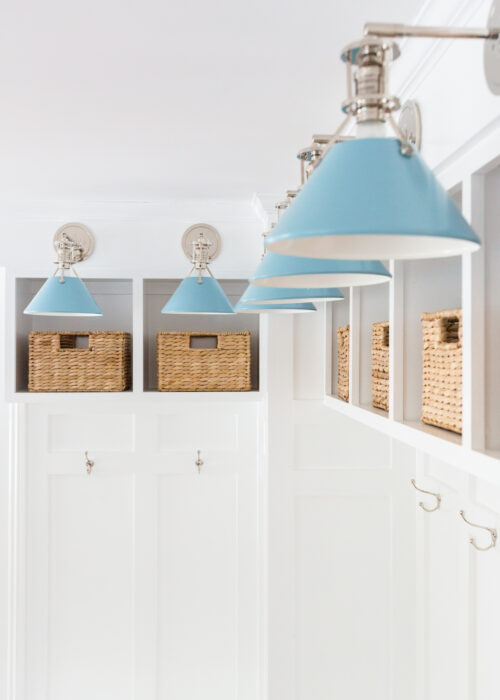 hudson valley lighting mark d. sikes painted no. 2 sconces in bluebird:polished nickel in mudroom
