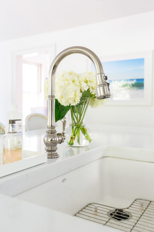 kohler whitehaven under-mount farmhouse sink and artifacts pull-down kitchen sink faucet in design darling kitchen