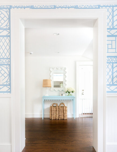 oomph newport console table in hinting blue in design darling mudroom