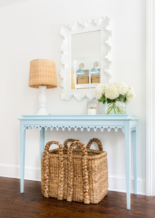 oomph newport console table in hinting blue with ballard designs atoll mirror
