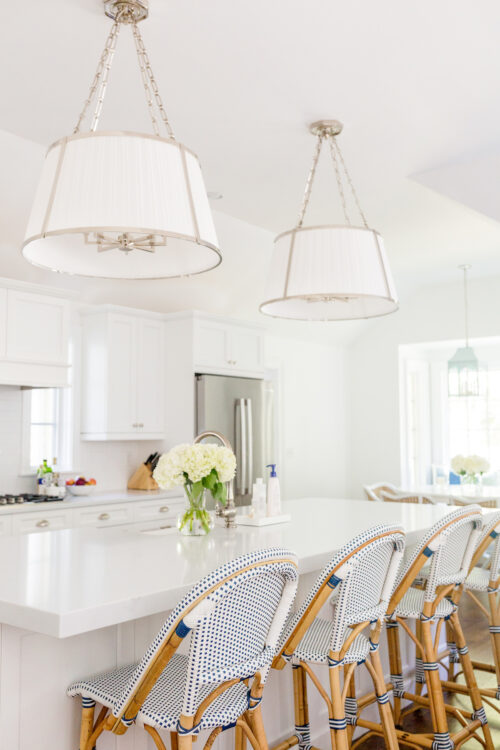 ralph lauren large hanging windsor shade and serena & lily riviera counter stools in design darling kitchen