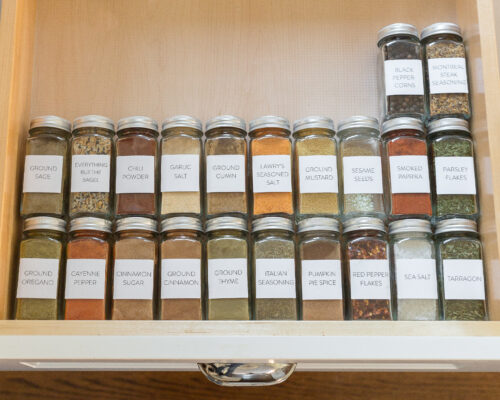 spice drawer with custom labels