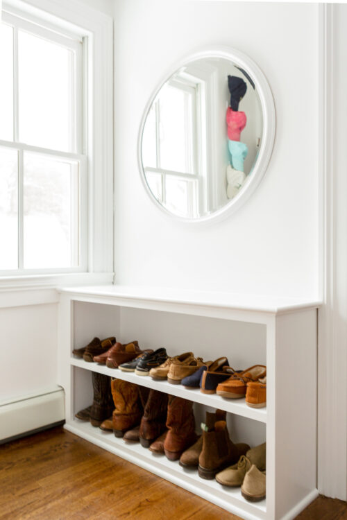 design darling closet shoe shelf below closet window