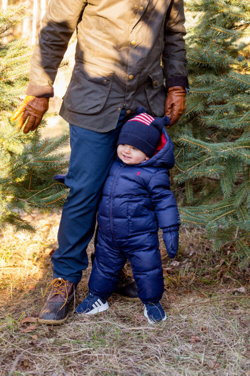 design darling cutting down our own christmas tree with baby
