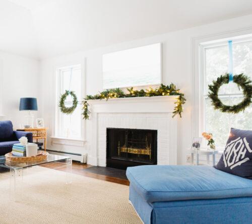 design darling fireplace garland family room