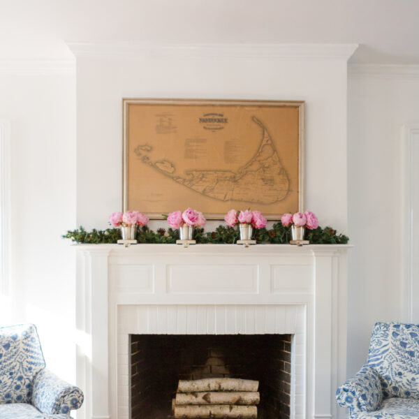 design darling living room fireplace at christmas peonies on mantel