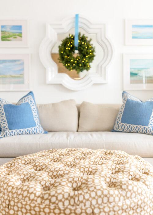 design darling pre lit christmas wreaths in living room