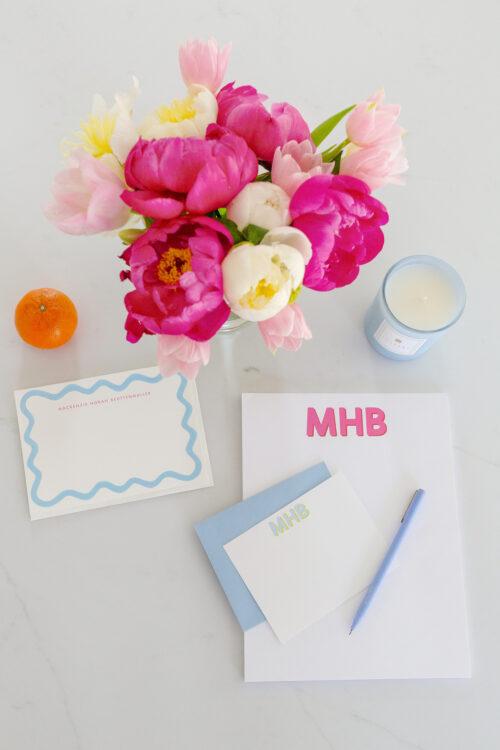 papier scalloped notecards and joy creative shop monogram notepad on design darling