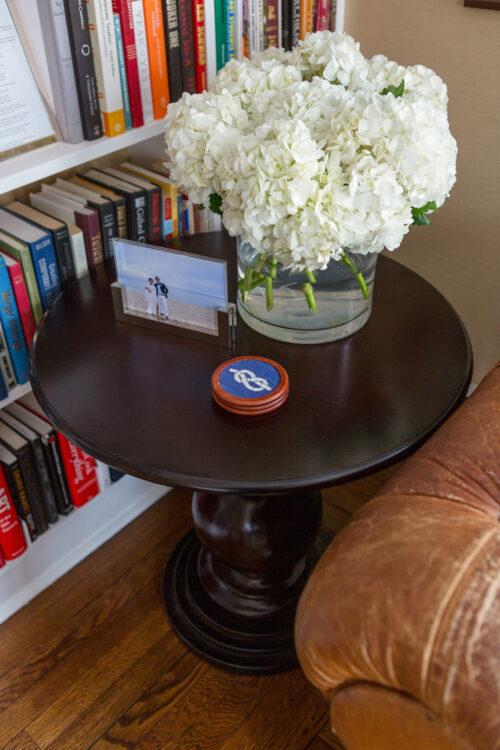 wood pedestal table