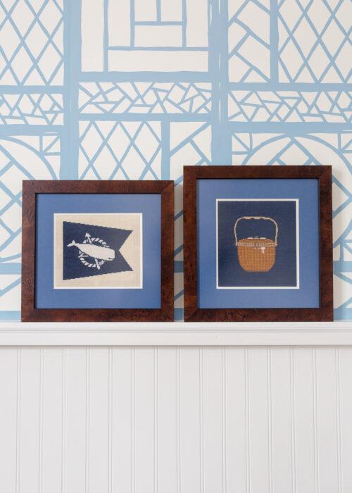 nantucket flag and nantucket lightship basket framed needlepoint canvas on design darling