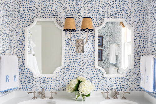 Kate and Laurel Hogan Scalloped Wood Framed Mirror Brunschwig & Fils Les Touches wallpaper in bathroom