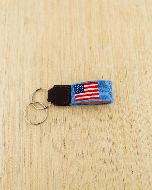 american flag needlepoint key fob