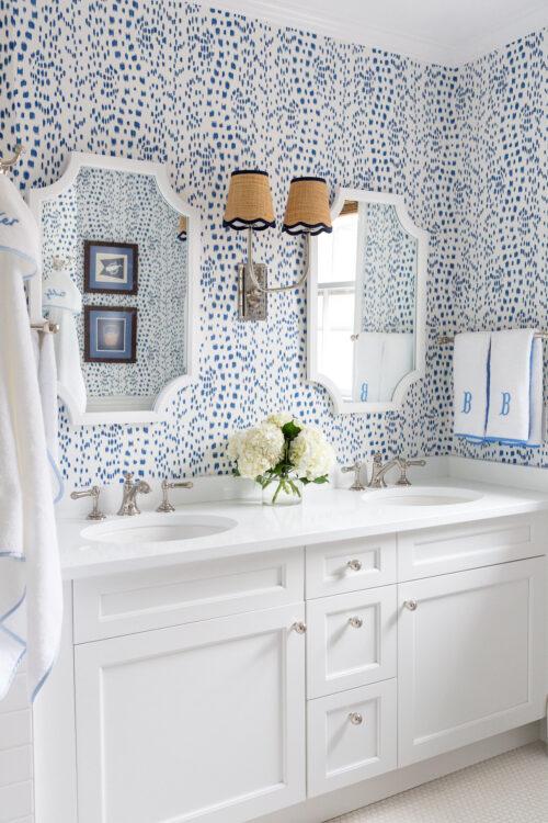 brunschwig & fils les touches wallpaper kate and laurel hogan scalloped wood framed mirror design darling hall bathroom