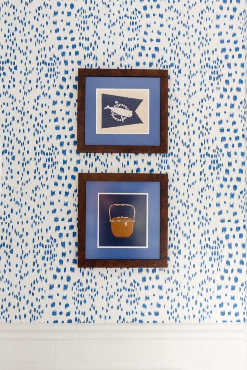 framed nantucket needlepoint canvases in design darling hall bathroom