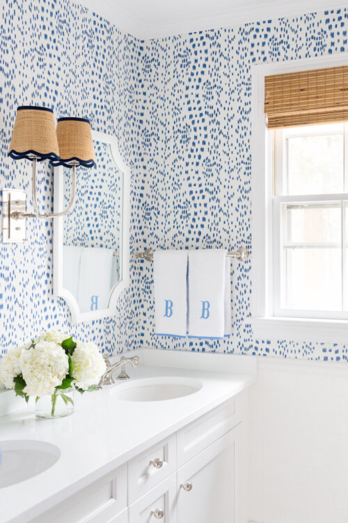 home depot bali natural woven wood shade and brunschwig & fils les touches wallpaper in bathroom