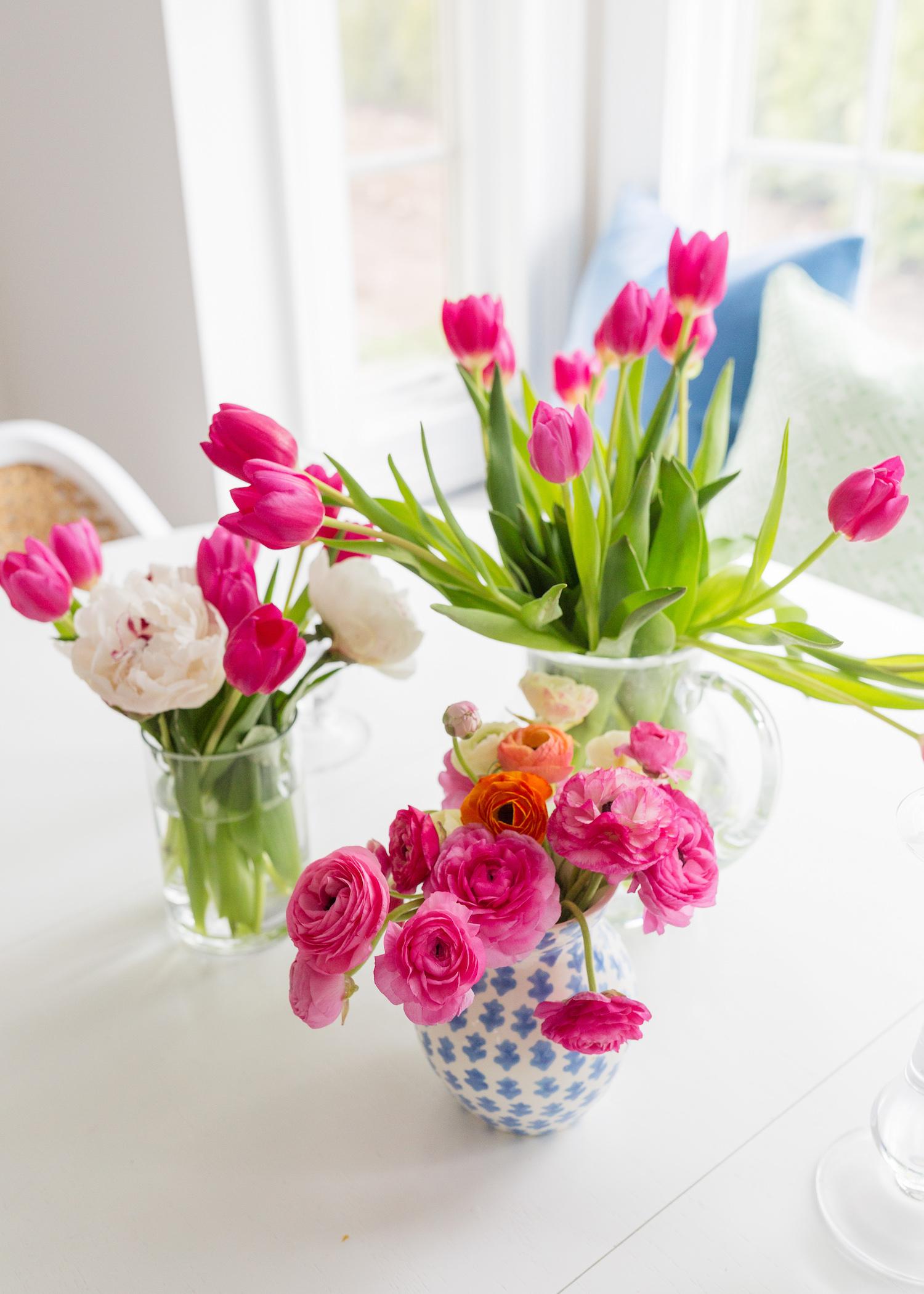 pink tulips ranunculus peonies