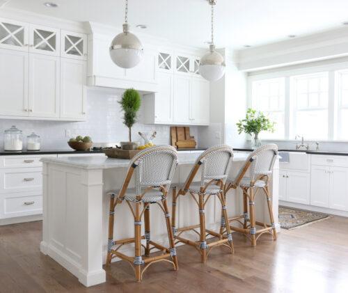 serena & lily riviera counter stool at kitchen island