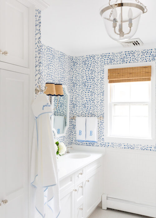 visual comfort country bell semi-flush lantern and brunschwig & fils les touches wallpaper in bathroom