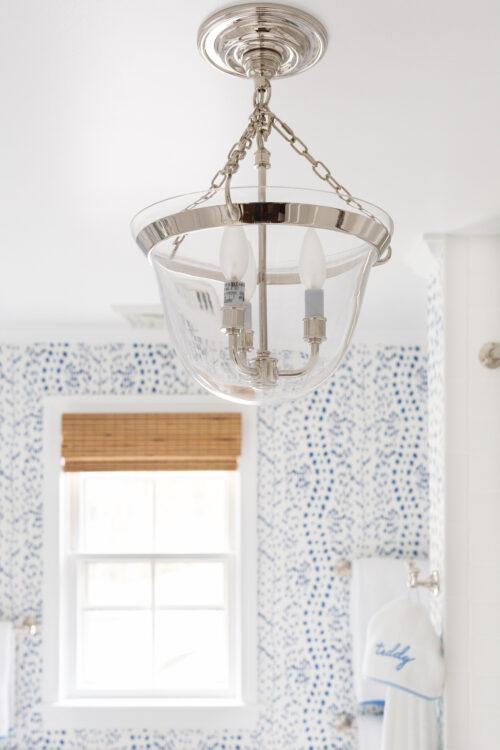visual comfort country bell semi-flush lantern in bathroom