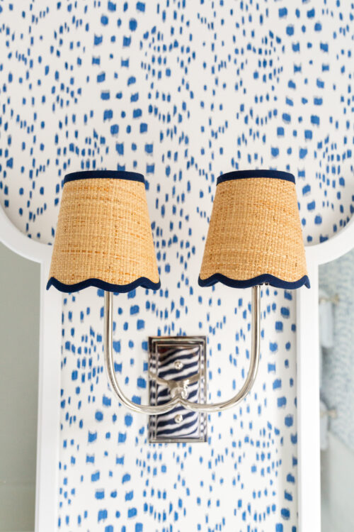 visual comfort hulton double sconce with raffia scalloped shades