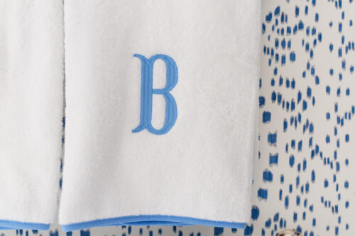 weezie piped edge bath towels french blue