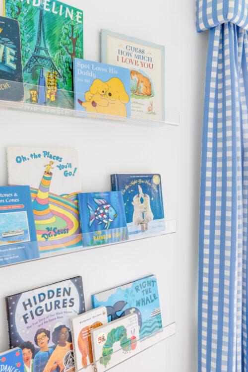 acrylic bookshelves and schumacher bermuda check cornflower fabric gingham curtains