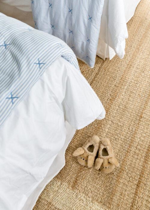 amazon bunny slippers on serena & lily jute border rug