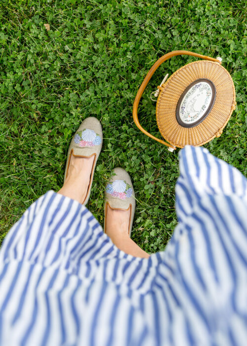design darling x stubbs & wootton sea shell slippers and nantucket lightship basket