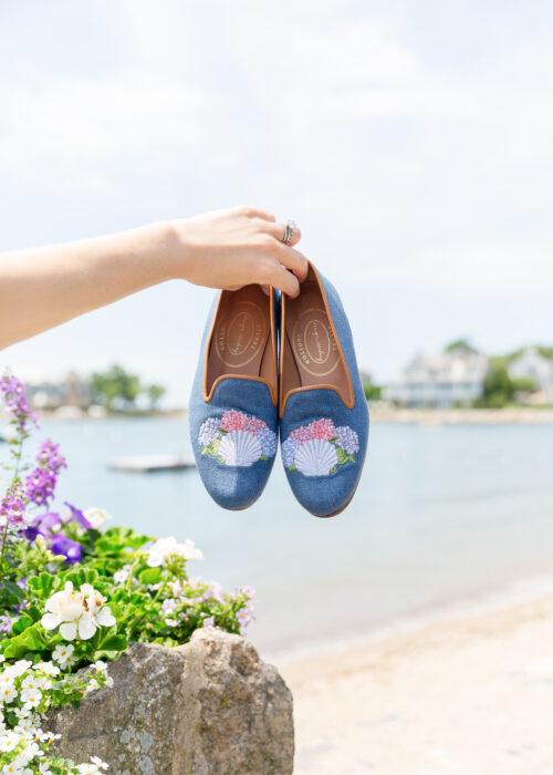 design darling x stubbs & wootton sea shell slippers marine blue