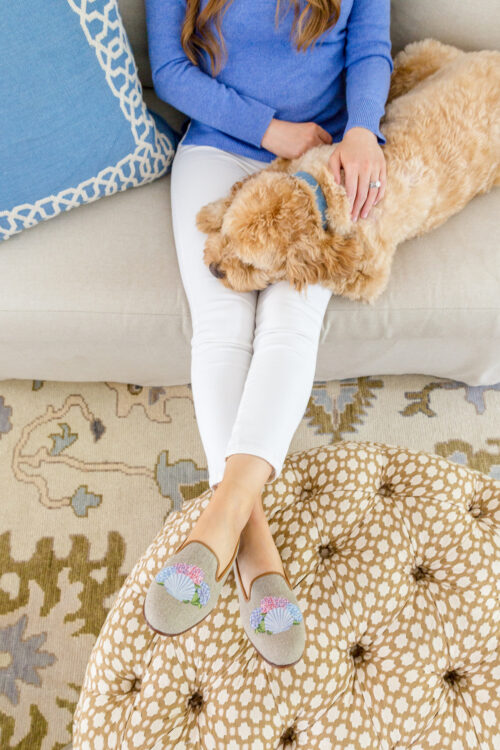 design darling x stubbs & wootton shell and hydrangea slippers 2