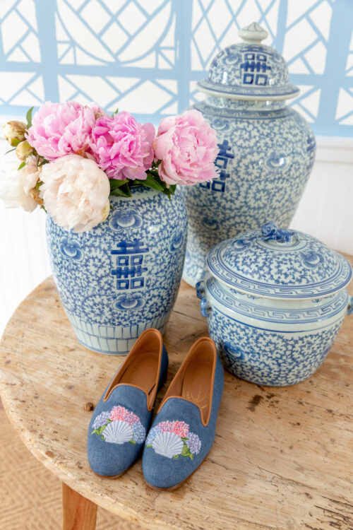design darling x stubbs & wootton shell and hydrangea slippers