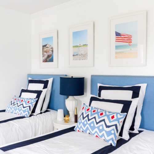 french blue headboards in boys' bedroom