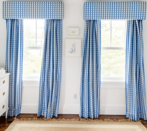 schumacher bermuda check cornflower fabric blue gingham curtains