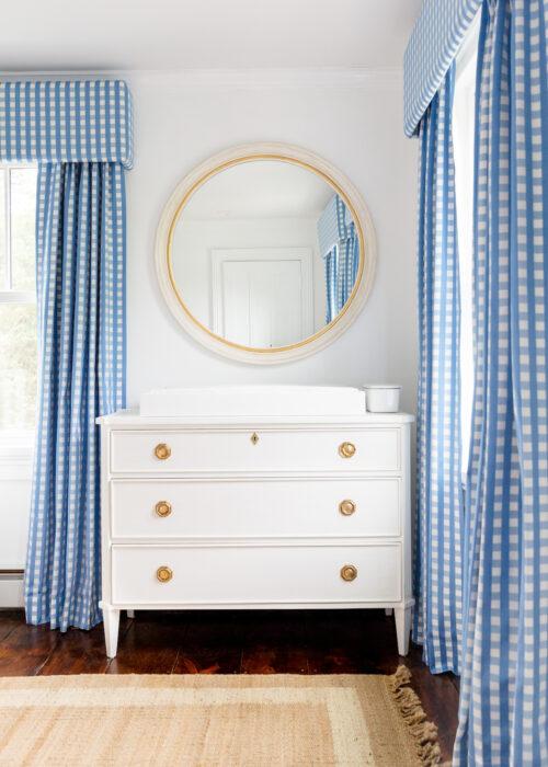 schumacher bermuda check cornflower fabric blue gingham curtains caitlin wilson nora mirror helena chest