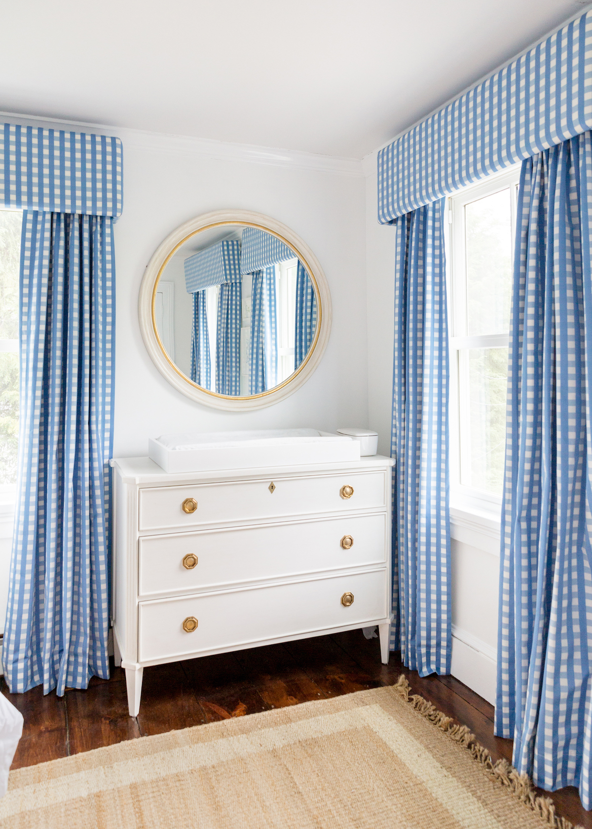 schumacher bermuda check cornflower fabric curtains and caitlin wilson helena dresser