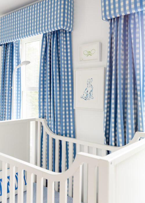 schumacher bermuda check cornflower fabric gingham curtains on design darling