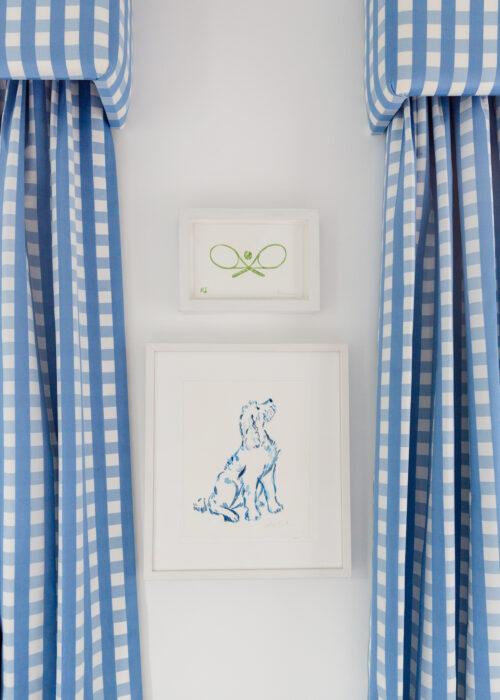 schumacher bermuda check cornflower fabric gingham curtains with kate schelter tennis watercolor