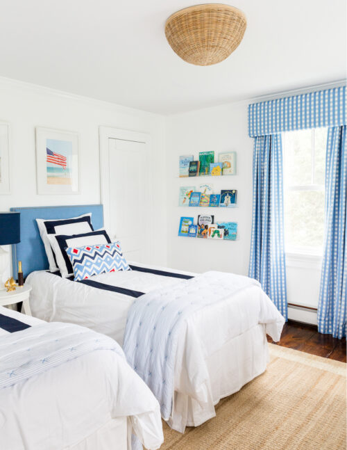serena & lily santa barbara flushmount and schumacher blue gingham curtains