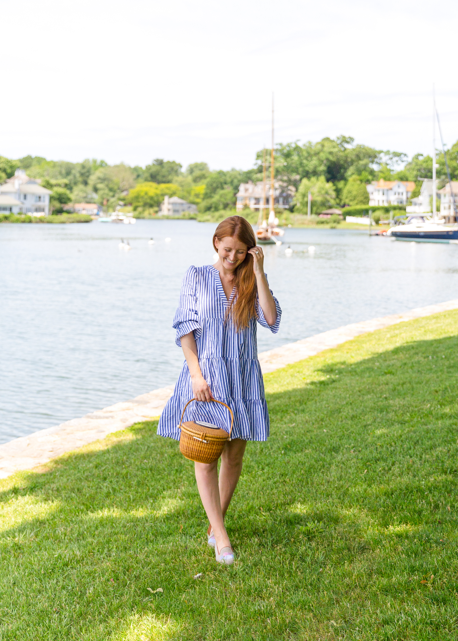 tuckernuck blue stripe kenzo tiered mini dress and design darling x stubbs & wootton sea shell slippers