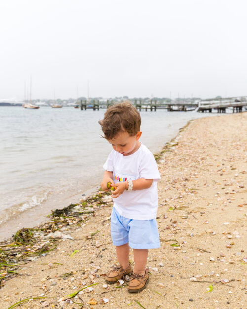 ann + reeves rainbow fleet t-shirt and shorts at brant point